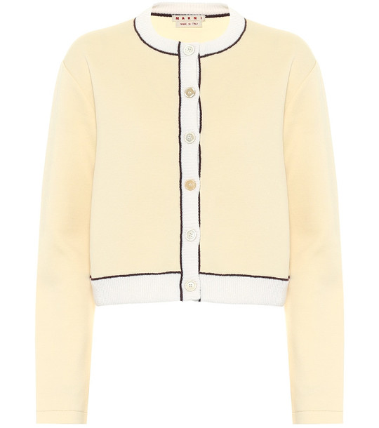 Marni Cropped cotton-blend cardigan in yellow