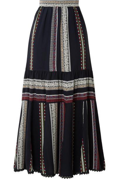 Derek Lam - Lace-trimmed Tiered Printed Silk Midi Skirt - Navy