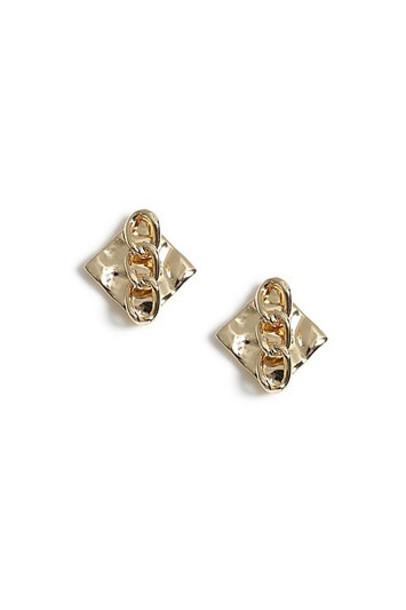 Topshop Crushed Stud Earrings - Gold