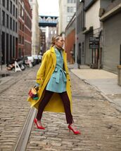 jacket,blazer,slit pants,skinny pants,pumps,handbag,yellow coat,long coat,turtleneck