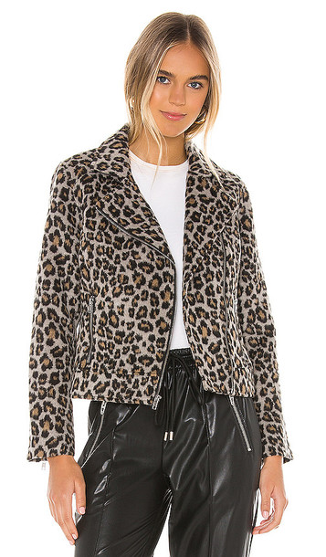 cupcakes and cashmere Margaux Leopard Moto Jacket in Gray