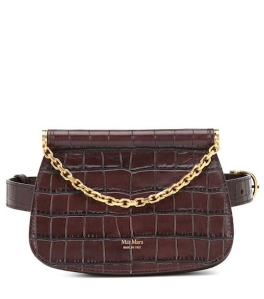Max Mara Jana croc-effect leather belt bag in brown