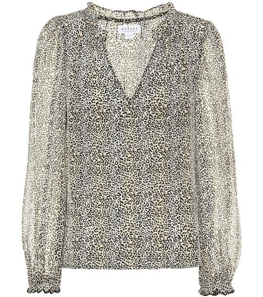 Velvet Mel leopard-print blouse in beige