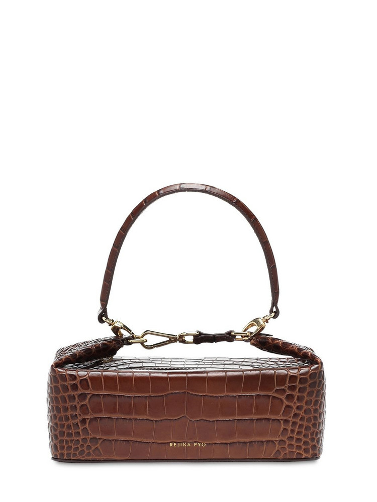 REJINA PYO Olivia Croc Embossed Leather Bag in brown