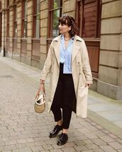 coat,trench coat,black shoes,woven bag,shirt,black pants