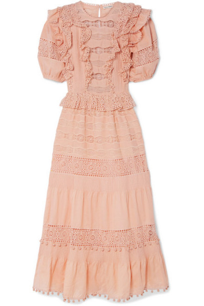 Ulla Johnson - Guinivere Crochet-trimmed Broderie Anglaise Cotton-blend Maxi Dress - Peach