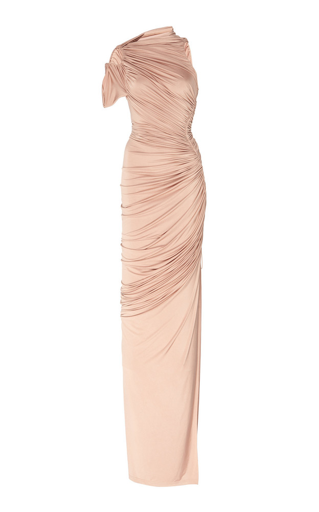 MUGLER Hyper Gathered Jersey Dress in neutral