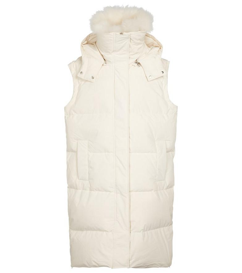 Yves Salomon Shearling-trimmed down vest in white