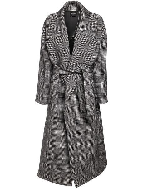 ROCHAS Prince Of Wales Wool Blend Maxi Coat in grey