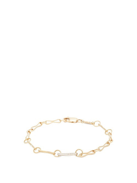 Azlee - 18kt Gold & Diamond Pavé Link Chain Bracelet - Womens - Gold