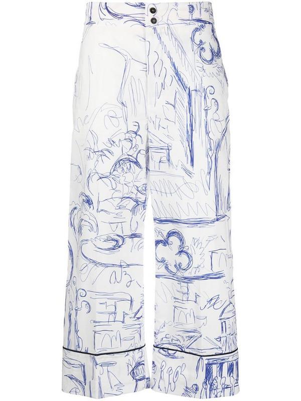 Erika Cavallini sketch-print cropped trousers in white