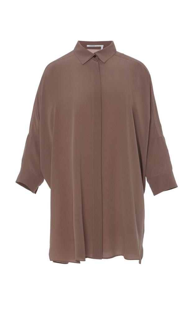 Agnona Button Down Poncho Shirt in purple
