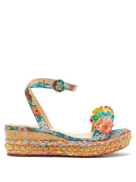 Christian Louboutin - Ariellasevillana 60 Studded Satin Flatform Sandals - Womens - Multi