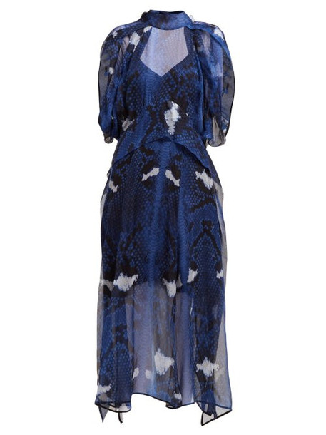 Petar Petrov - Delway Snake Print Silk Midi Dress - Womens - Blue Multi