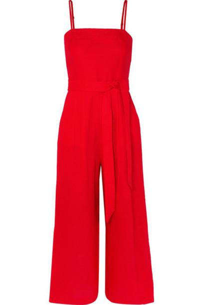 J.Crew - Marseille Belted Linen Jumpsuit - Red
