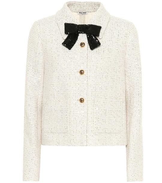 Miu Miu Embellished tweed jacket in white