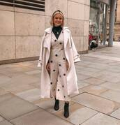 jumpsuit,polka dots,black boots,ankle boots,long coat,white coat,black turtleneck top