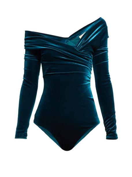 Alexandre Vauthier - Off The Shoulder Velvet Bodysuit - Womens - Blue
