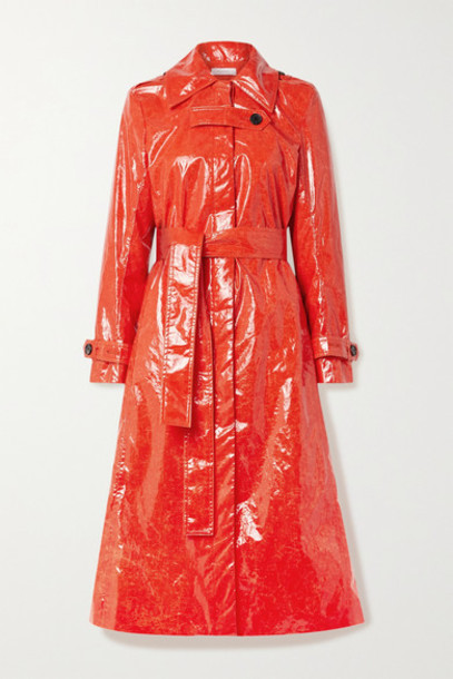 Beaufille - Fini Belted Pu Trench Coat - Tomato red