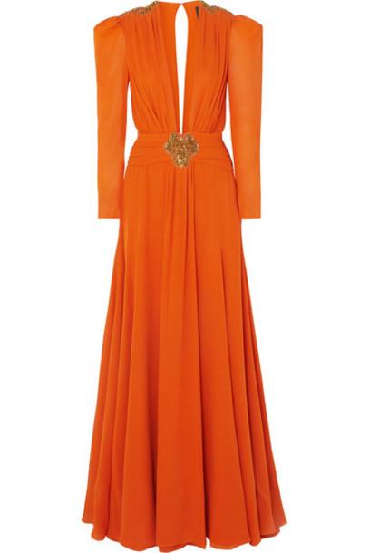 Dundas - Embellished Pleated Silk-crepe De Chine Gown - Orange