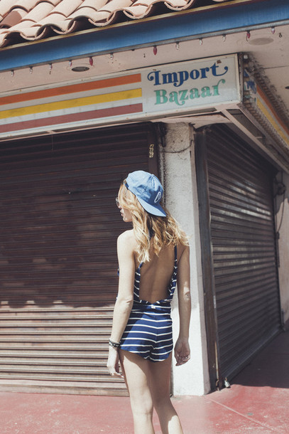 the marcy stop blogger romper tank top shorts hat stripes