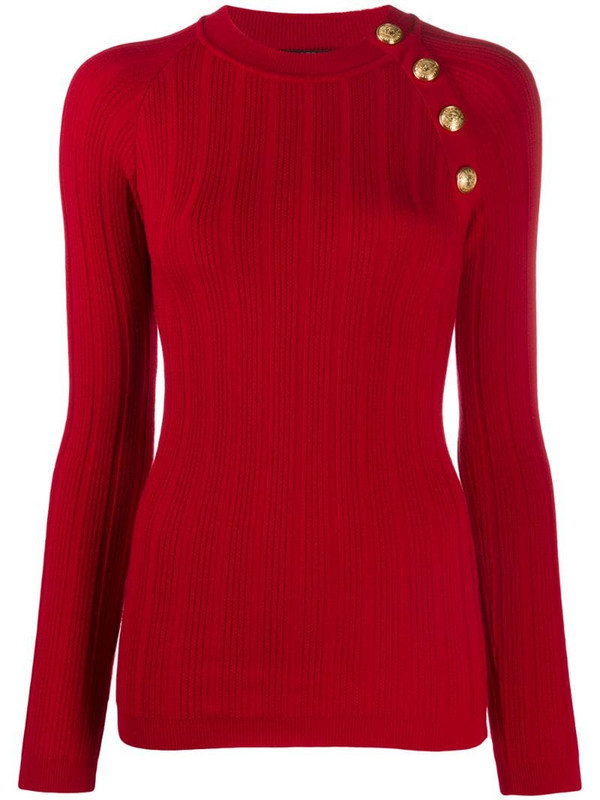 Balmain button front jumper in red