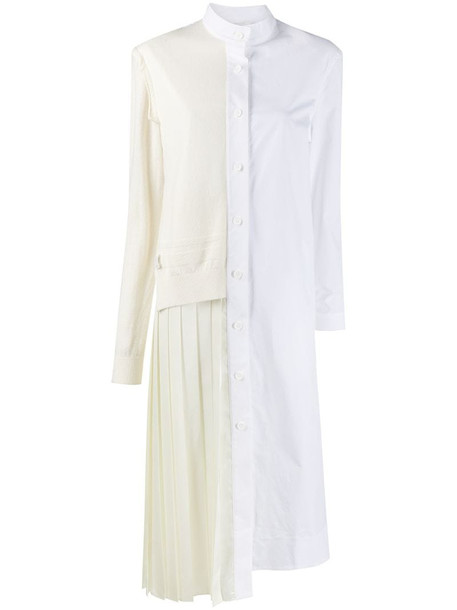 RE CODE two-tone button-up shirt dress in white