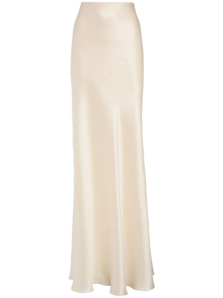 RALPH LAUREN COLLECTION Stretch Silk Satin Long Skirt in ivory