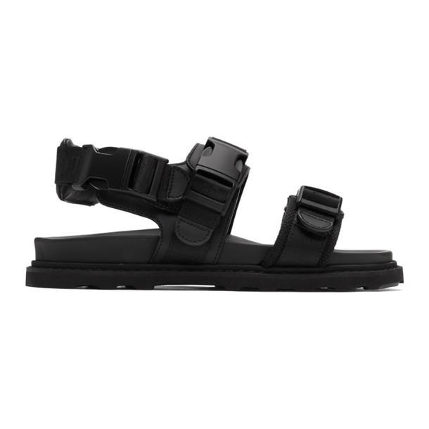 Bottega Veneta Black Leather & Canvas Camper Sandals