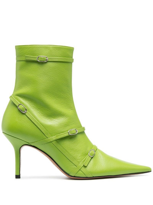 Abra Belt pointed ankle boots in green
