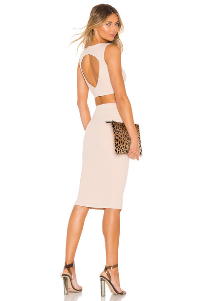 superdown Ingrid Ribbed Skirt Set in beige
