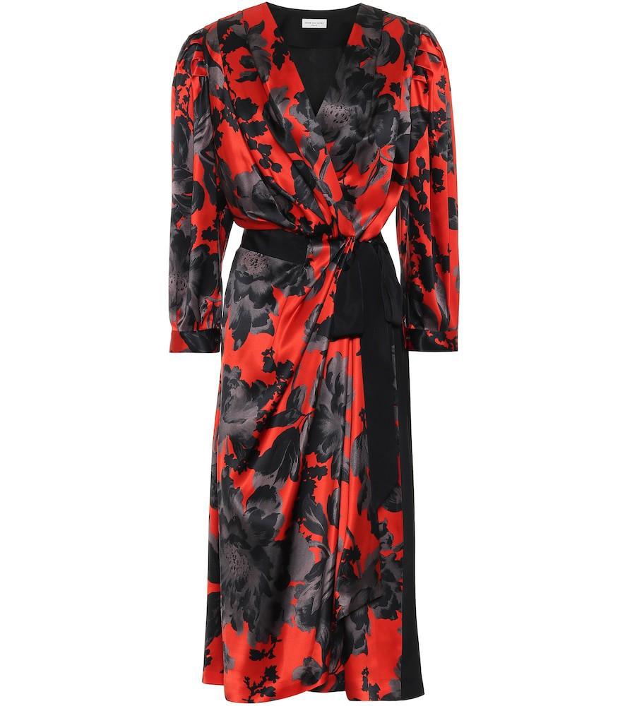 Dries Van Noten Floral silk-satin wrap dress in red