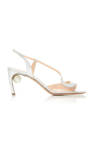 Nicholas Kirkwood Maeva Pearl-Embellished Leather Sandals in silver