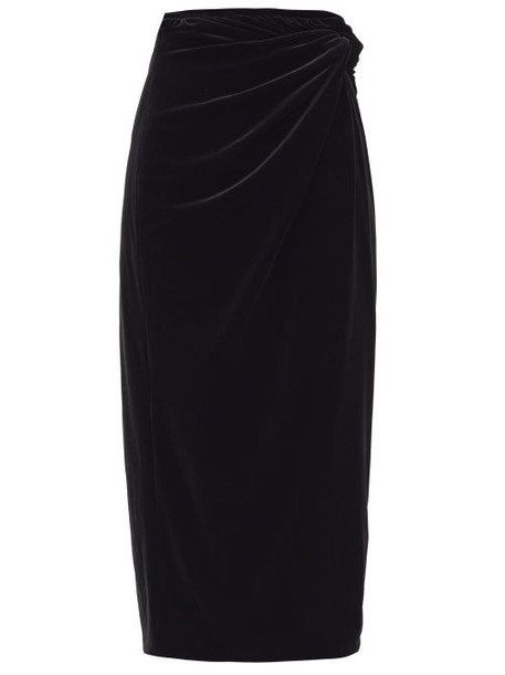 16arlington - Moriyo Draped-velvet Pencil Skirt - Womens - Black