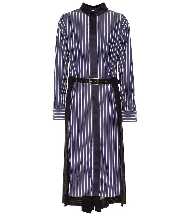 Sacai Striped cotton-blend shirt dress in blue