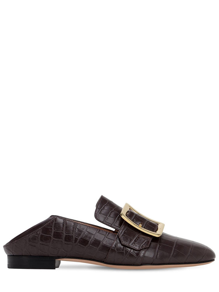 BALLY 10mm Janelle Embossed Croc Loafers in brown