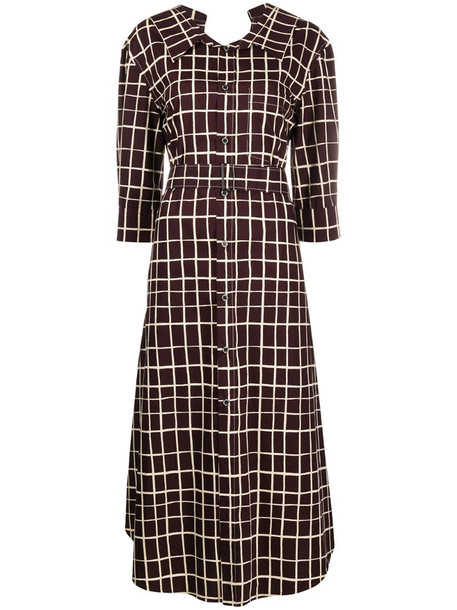 Marni check shirt dress in red