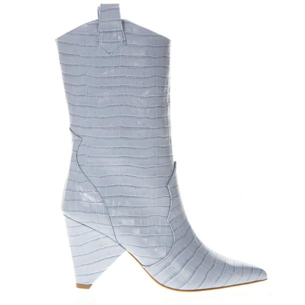 Aldo Castagna Boot In Azure Cocodrile Effect Leather