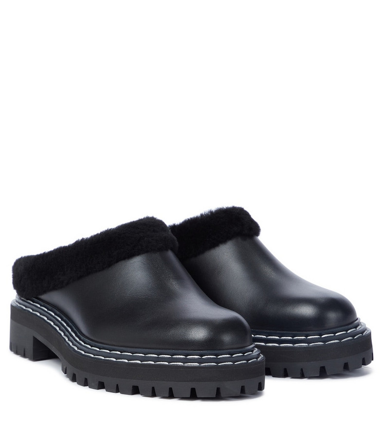 Proenza Schouler Shearling-lined leather slippers in black