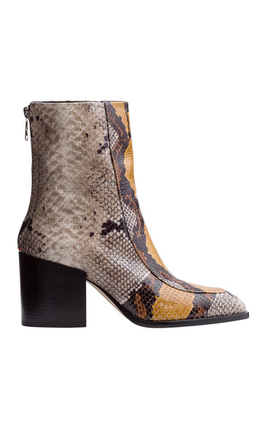 Aeyde Lidia Snake-Embossed Leather Boots in multi
