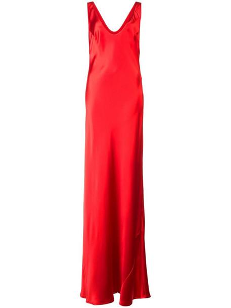 Galvan Bias slip dress in red
