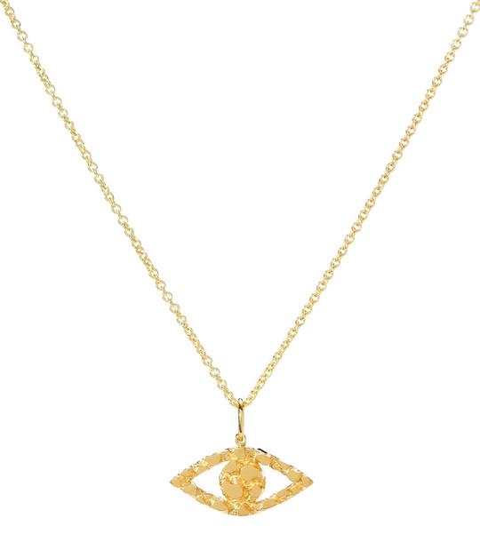 Sydney Evan Small Evil Eye 14kt gold nugget necklace
