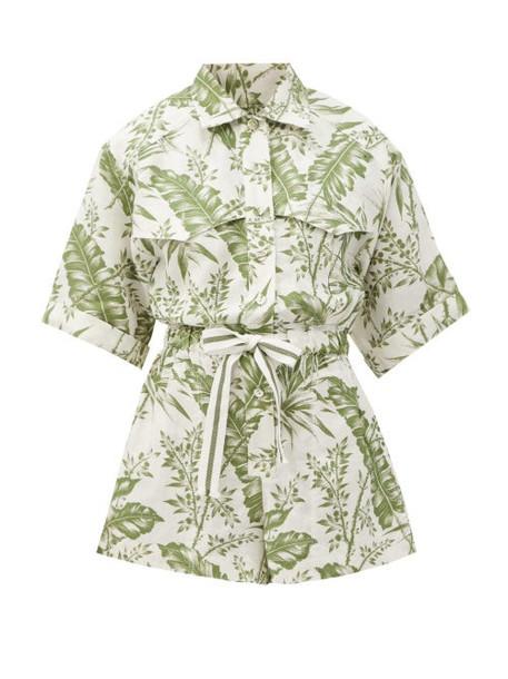 Zimmermann - Empire Palm-print Linen Playsuit - Womens - Green Print