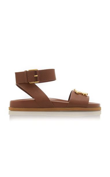 Valentino Gold-Tone Buckle Leather Sandal in brown