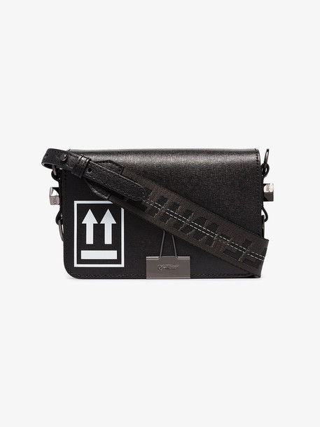 Off-White black arrow logo mini leather shoulder bag