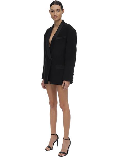 BALMAIN Viscose Blend Crepe Jacket Dress in black
