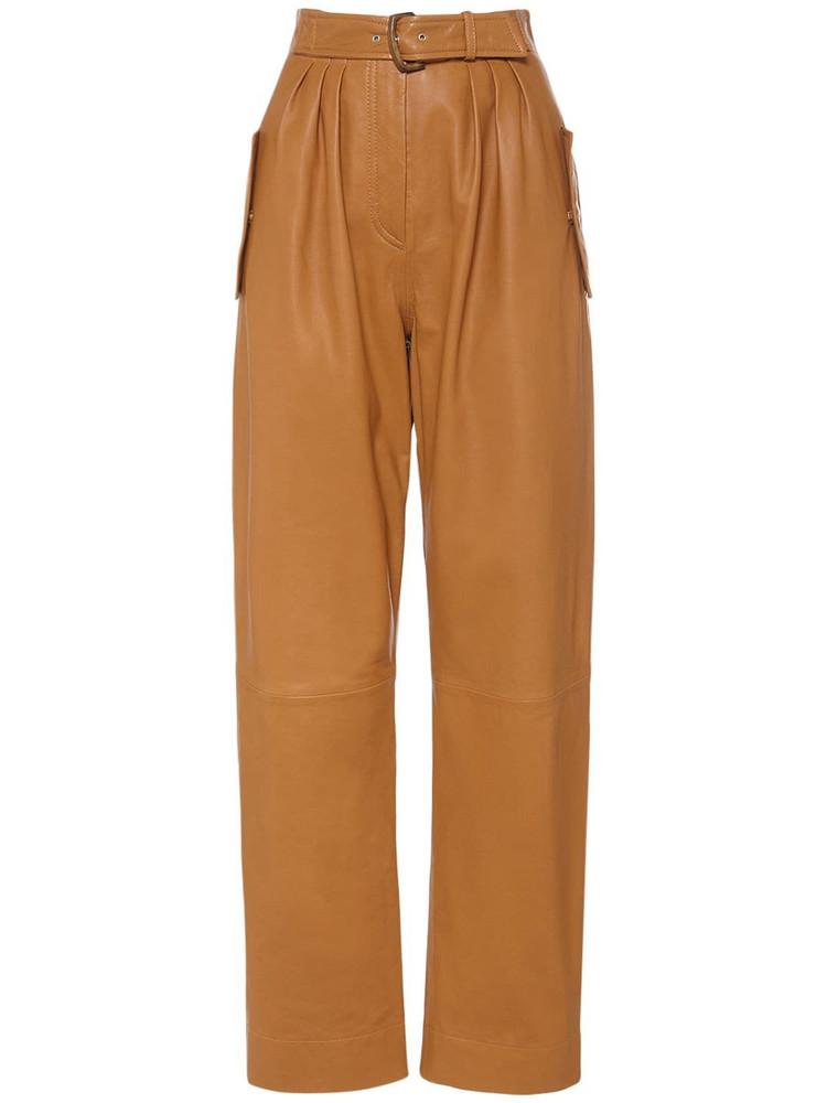 ALBERTA FERRETTI Nappa Leather Wide Leg Pants W/belt in brown