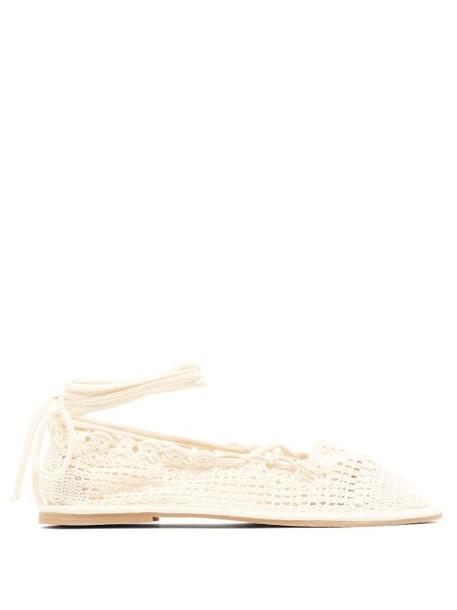 Alexachung - Crochet Lace Up Ballet Flats - Womens - Cream