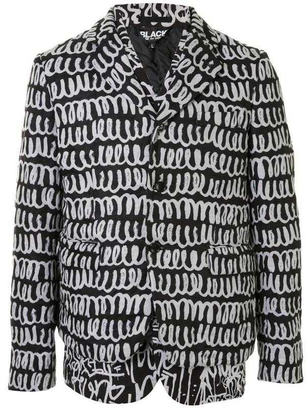 Black Comme Des Garçons scribble-print twill jacket in black