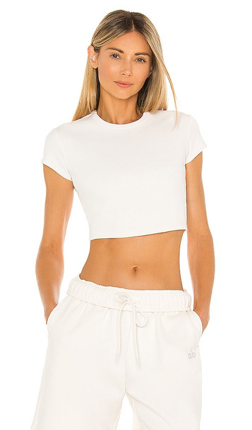 alo Ribbed Short Sleeve Top in Ivory
